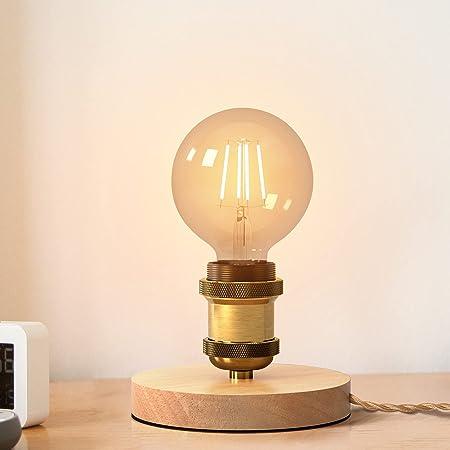 SAINUO lampe de table,E27 design rétro industriel, bois & métal, éclairage salon & chambre, lampe de chevet, pour ampoule LED 60W max,1.5M câble