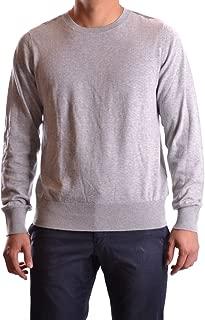Burberry Check Detail Cotton Cashmere Crew Neck Sweater