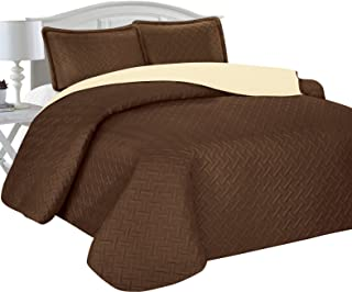Home Sweet Home Victoria Design Reversible 3 PC Quilt Bedspread Sets (King, Brown/Beige)