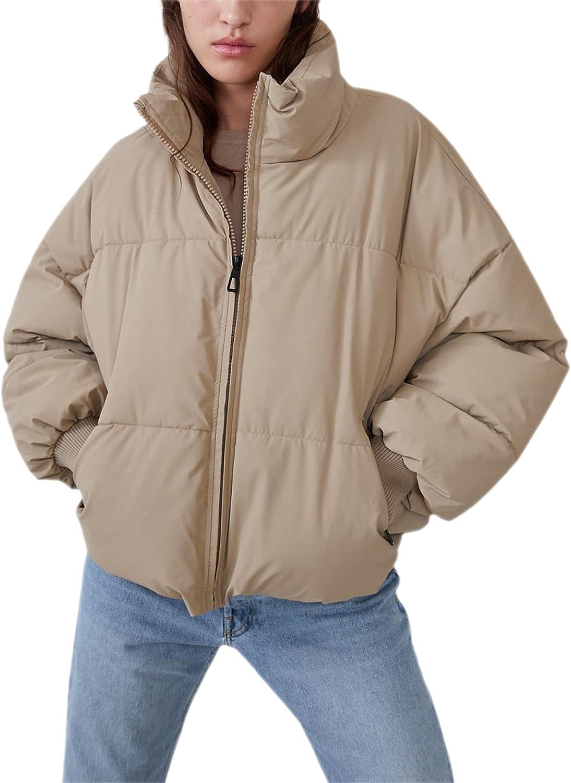 Springrain Womens Winter Padded Stand Collar Zip Long Sleeve Pockets Puffer Jacket