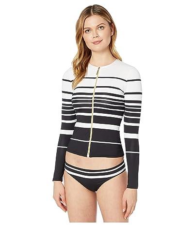 LAUREN Ralph Lauren Gradient Stripe Long Sleeve Rashguard (Black/White) Women