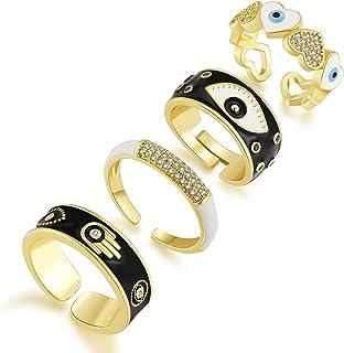 SISMIURRA 4PCS Evil Eye Rings Y2K Colorful Enamel Rings Set for Women Gold Chunky Rings Set 18K Gold Plated Cubic Zirconia...