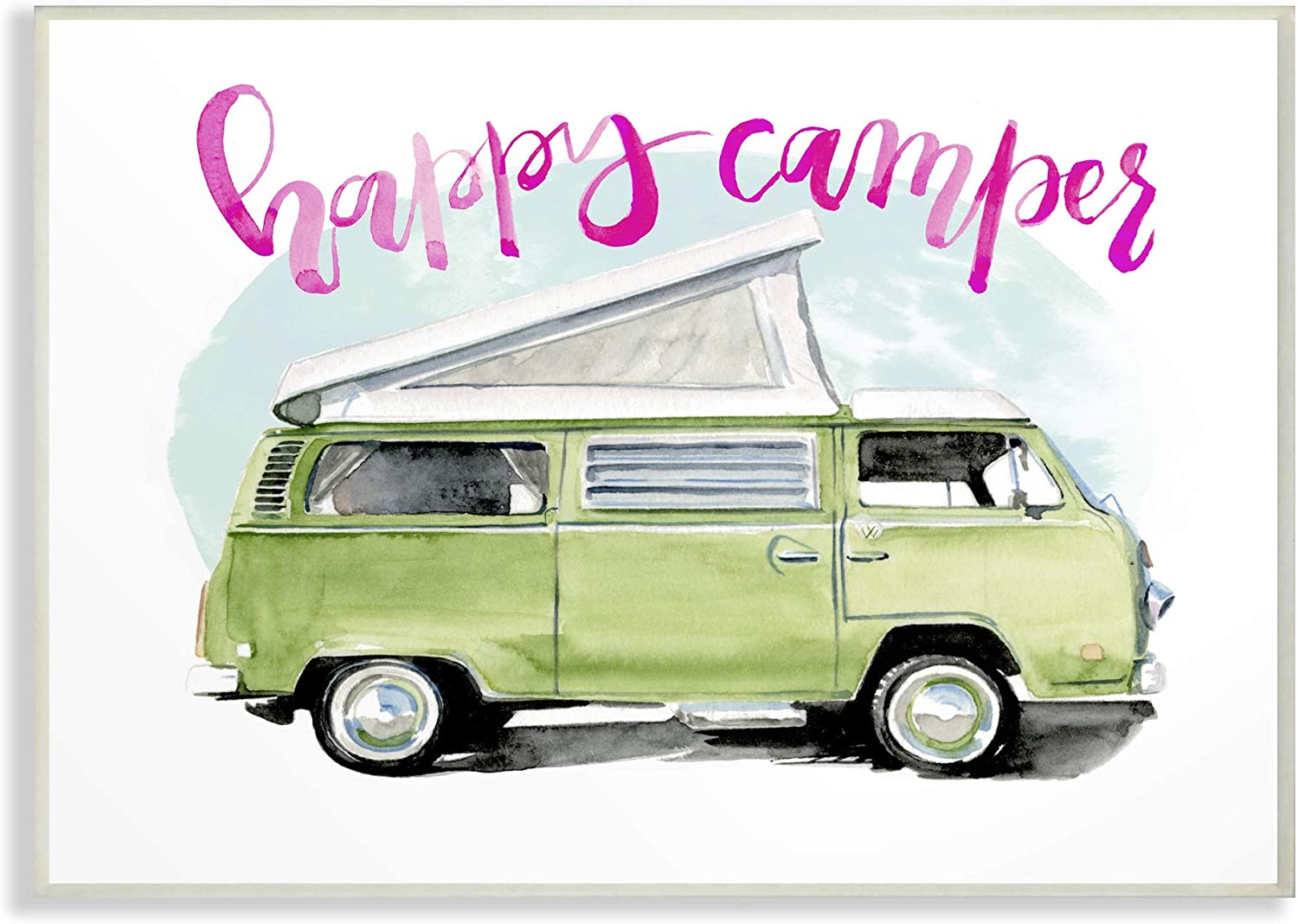 The Stupell Home Decor Happy Lime Green Camper Watercolor Wall Plaque Art 13 X 19 Multi-color