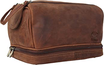 Genuine Leather Travel Toiletry Bag - Dopp Kit Organizer By Rustic Town