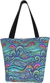 Einkaufstaschen, Wellen-Türkis, Segeltuch-Schultertaschen, wiederverwendbar, faltbar, Reisetaschen, groß und langlebig, robuste Einkaufstaschen