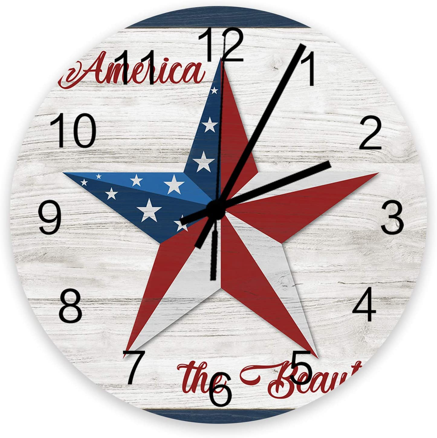 Roses Garden 12 Inch Max 80% OFF Wooden Wall Day Clock Max 86% OFF Flag Pe Independence