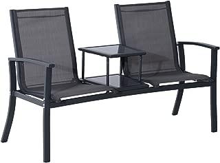 Koonlert@shop Outdoor Double Seat Bench Patio Chair Mesh Aluminum Park Garden Furniture W/Elevated Table #705d