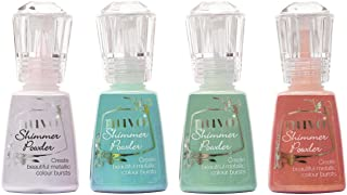 Nuvo Shimmer Powder Multi-Colors Set - Violet Brocade, Atlantis Burst, Green Parade and Catherine Wheel - 4 Bottle Bundle