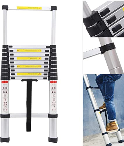 lowest Telescopic Extension Ladder 10.5Ft Aluminum Folding 11 Steps Anti-Slip Rubber Feet Safety Locking outlet sale Latches outlet sale 330lb Load Capacity sale