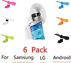 Android Smart Fan Pocket Size Portable Low Noise Cooling Mini USB Mobile Phone Fan for Samsung Galaxy S7, S7 Edge, LG G5 & Other Android Smart Phone 6 Pack Value Pack