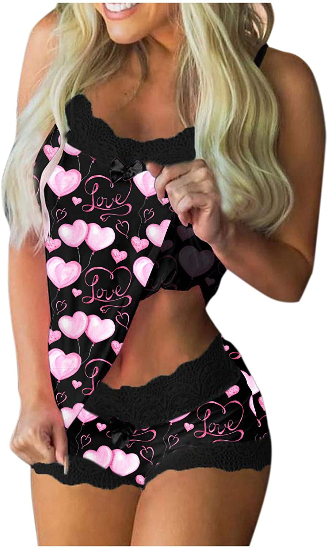 Women Sleepwear Valentine's Day Pajamas Two Piece Loungewear Lace Trim Sleeveless Tank Top with Shorts Nightwear Outfit