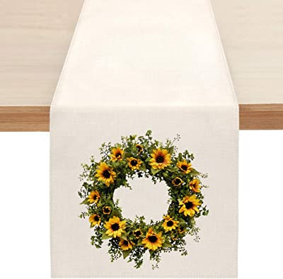 Summer Sunflower Wreath Table Runner, Spring Flowers Table Runners for Kitchen Dining Coffee or Indoor and Outdoor Home Parties Decor 13 x 72 Inches