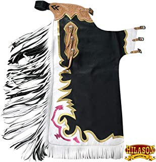 HILASON Ch878T Black Bull Riding Genuine Leather Rodeo Western Chaps