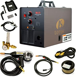LOTOS MIG175 175AMP Mig Welder with Free Spool Gun, Mask, Aluminum Welding Wires, Solid..