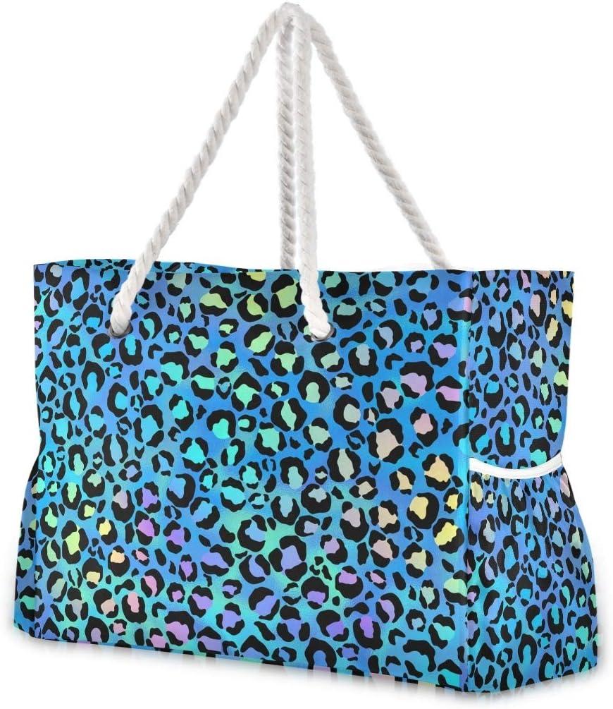 SUABO Travel Max 66% OFF Beach Bag Cute Leopard Outlet SALE Large Shoulder Spots