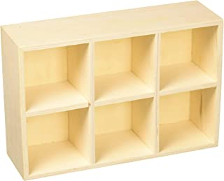 Homeford FMC00000000WS317 Desk Caddy 6-Compartment Wooden Box, 8