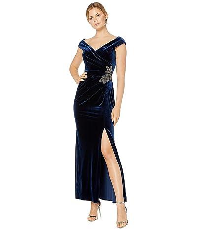 Alex Evenings Long Velvet Off-the-Shoulder Dress (Imperial) Women