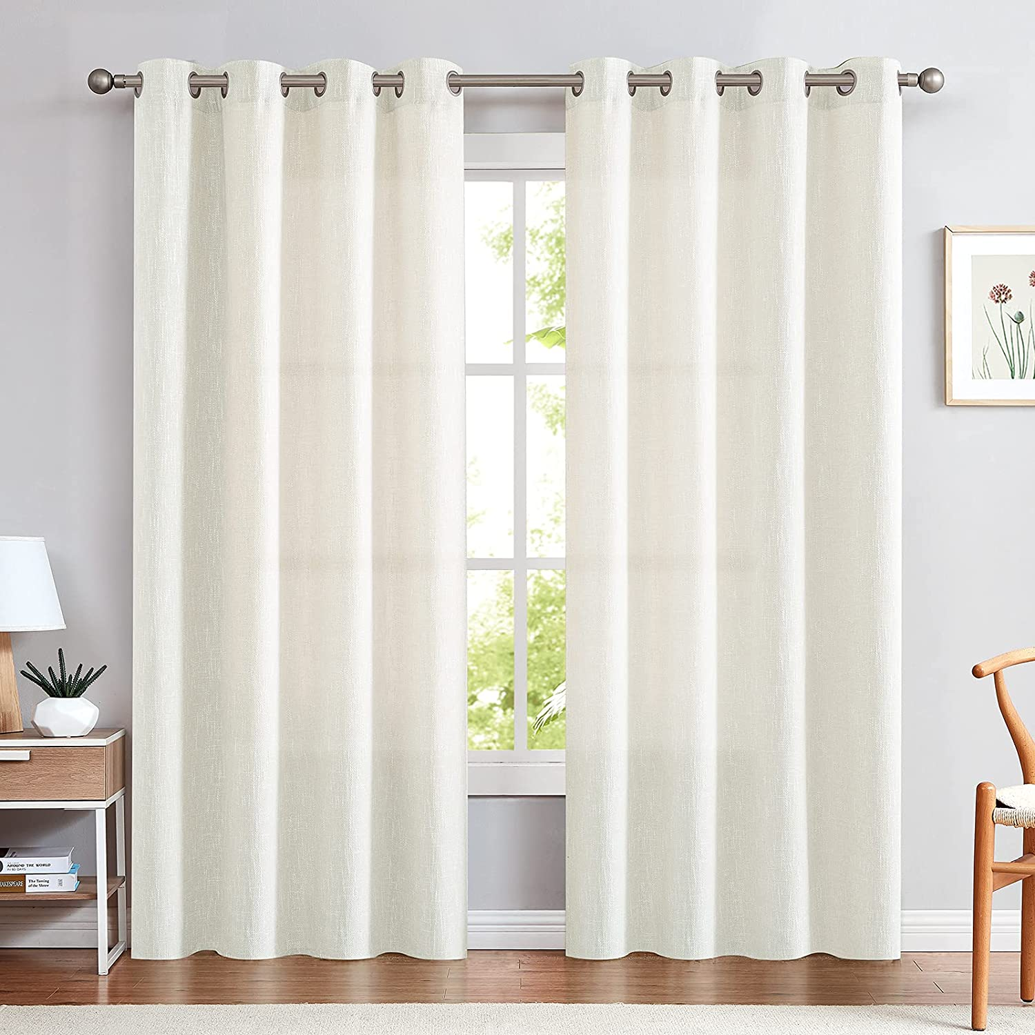 jinchan Linen At the price of surprise Textured Off White Free shipping on posting reviews Bedroom for Curtains Look