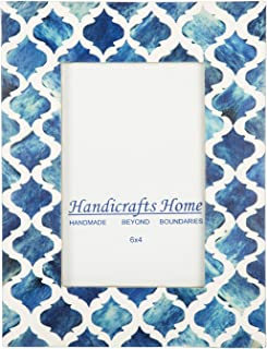 Picture Photo Frame Moorish Damask Moroccan Arts Inspired Handmade Naturals Bone Frames Photo Size 4X6 Inches Blue White – Thanksgiving Gifts
