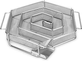 Navaris Kallröksgenerator av rostfritt stål – 21 x 18 x 4 cm – spiralform sparbkant kallröksgenerator för rökugn – kallrök...