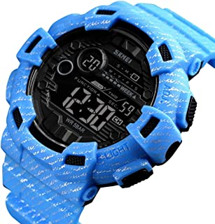AE-KANGSHUAI Fashion Sport Watch Men Alarm Clock Cowboy Waterproof Week Display Men Watches Denim Digital Watch (Color : Light blue)