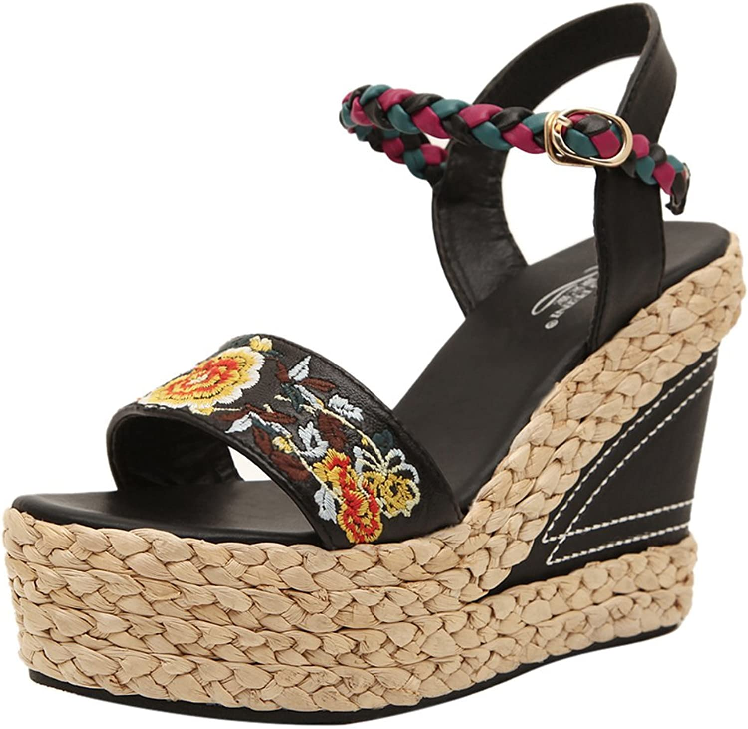 ONCEFIRST Women's Bohemias Ankle Strap Wedge Sandal