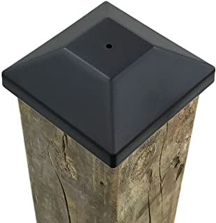 """Best (54 Pack) 4x4 Wood Fence Post Caps (3 5/8"""") Black, Decking Caps for Pressure Treated Wood Fence, Made in USA Review"""