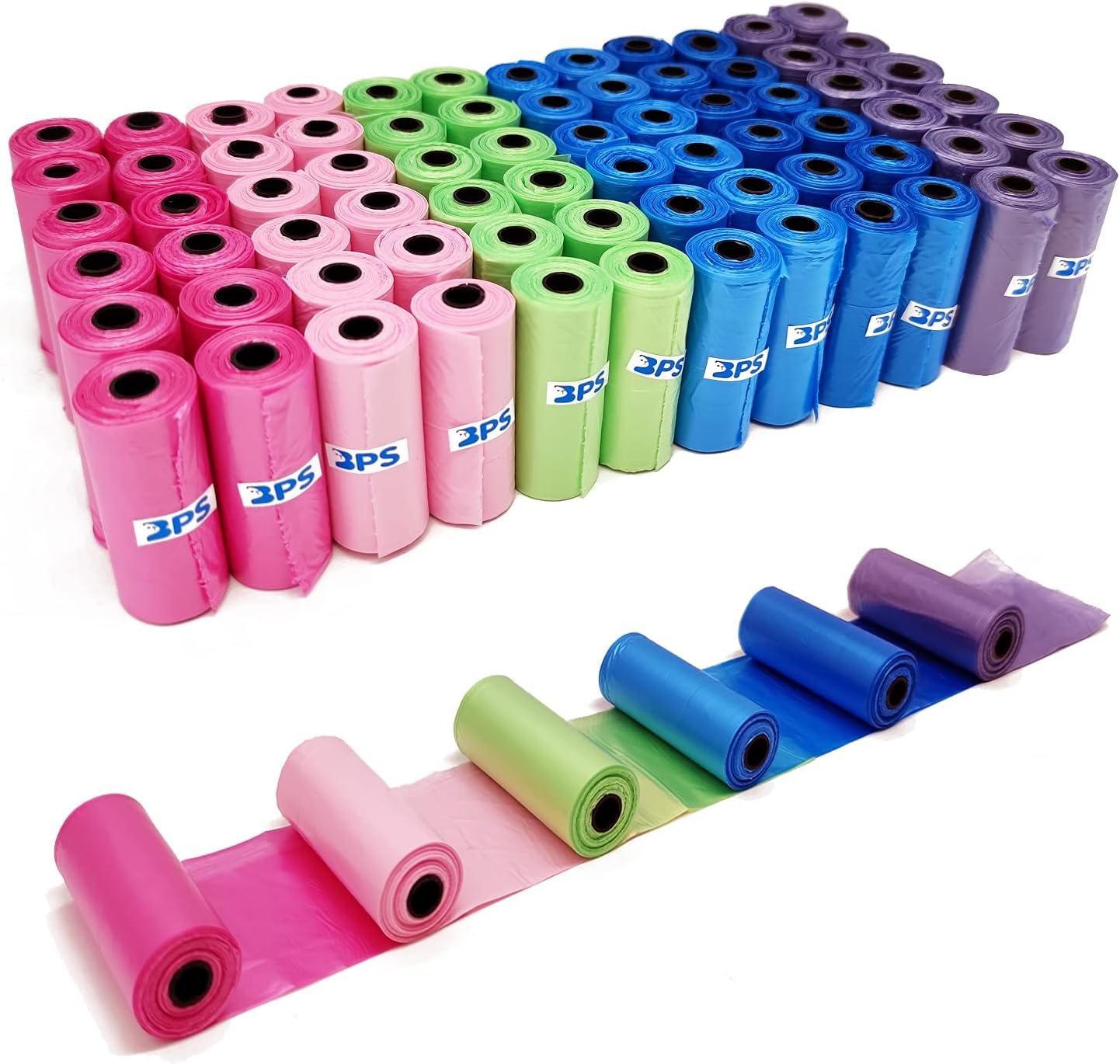 BPS 1080 Bolsas de Caca Perro Bolsas para Excrementos de Perros para Mascotas Animales Domésticos Pack de 72 Rollos Multicolor BPS-5382*01