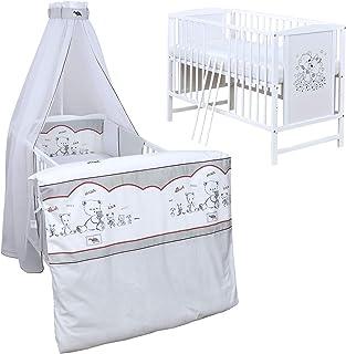 Baby Delux Babybett Komplett Set Kinderbett Mia weiß 120x60 Bettset Matratze in vielen Designs Bear Family