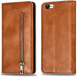 SHUANGRUIYUAN with Wallet & Holder & Card Slots, Calf Texture Zipper Magnetised Horizontal Flip Leather Case for iPhone 6s Summation / 6 Plus (Color : Brown)
