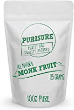 Purisure Monk Fruit Extract 125g (4.41oz) 400 Servings, 100% Pure No Fillers, Sugar-Free Natural Sweetener, Zero-Calorie Z...