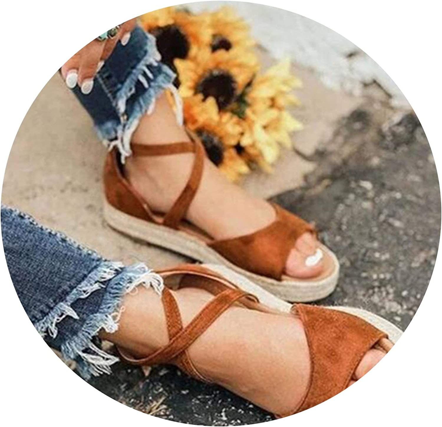 Jhdnhse Women Sandals Rome Style Summer shoes Flat Anti Skidding Beach shoes Plus Size Low Heel Sandalias,Brown,4.5