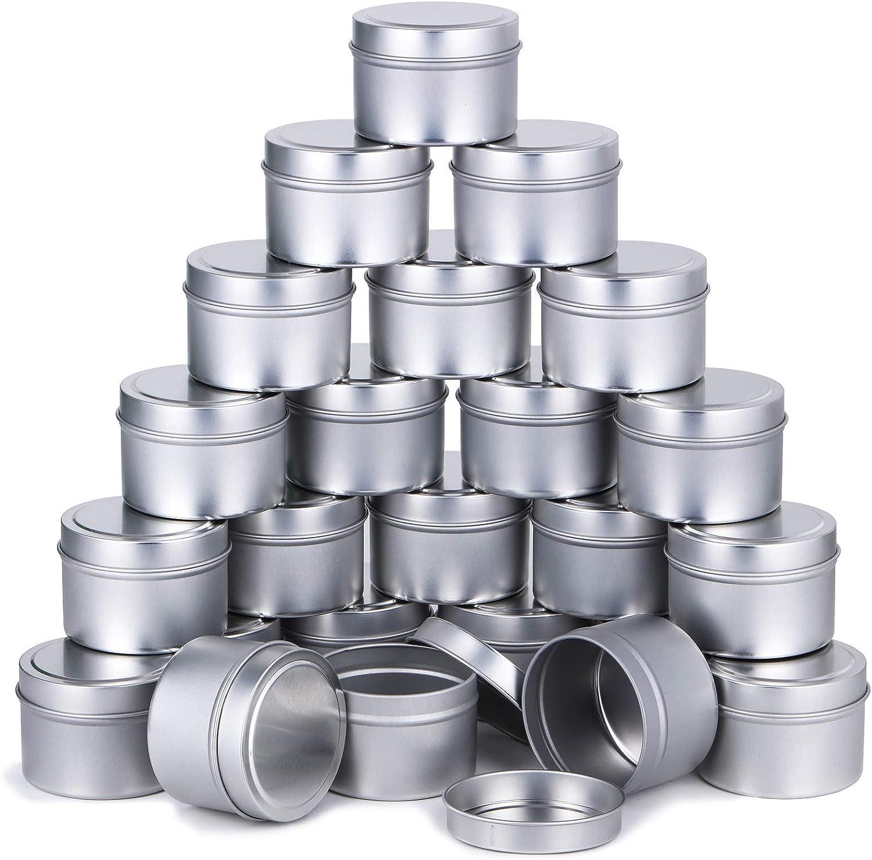 Pack de 24 latas para Velas. 118 ml (Plateado)