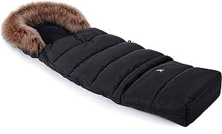 Fußsack Schlafsack Cottonmoose Footmuff Combi Yukon mit Fell zum Kinderwagen Sportwagen Autositz (black)