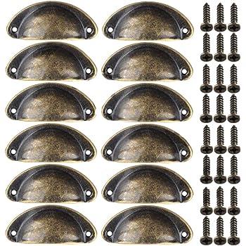 10pcs Poign/ée Meuble Vintage en forme de Coquille avec 20pcs Vis Poign/ée Coquille Tiroir Bouton de Porte R/étro pour Armoire Placard Meuble