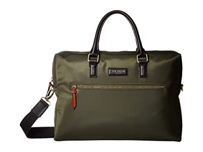 Ted Baker Dancer Satin Nylon Document Bag (Olive) Briefcase Bags