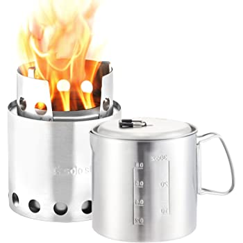 Solo Stove & Solo Pot 900 Combo: Lightweight Woodburning Cooking System for Backpacking, Camping, Kayaking, Cycling, Boy Scouts, Emergency Preparation