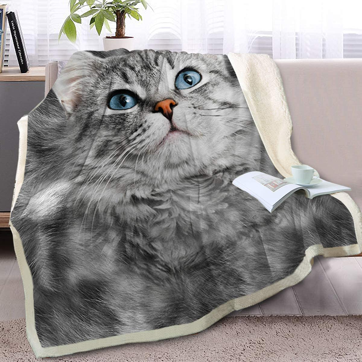 Blessliving Gray Cat Blanket Animal Print Fleece Blanket Sherpa Reversible Blanket Cat Blankets And Throws For Kids Adults Twin 60 X 80 Inches Home Kitchen