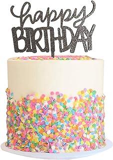Cake Topper Glitter Happy Birthday Plata - Letrero para pastel - Fiesta sorpresa - Decoración para Primer Feliz Cumpleaños...