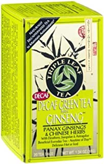 Triple Leaf Tea Decaf Green Tea with Ginseng - 20 CT