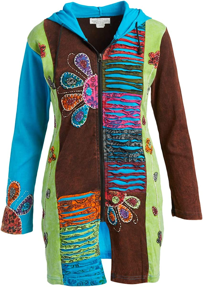 The Collection Royal Cotton Patch Hoodie Boho Zip Up Jacket