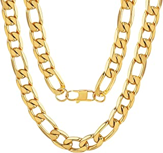 ChainsPro Mens NK 3:1 Figaro Chain Necklace/Bracelet-4/6/7.5/9/13MM Width, 18K Gold Plated/316L Stainless Steel/Black, 18-30