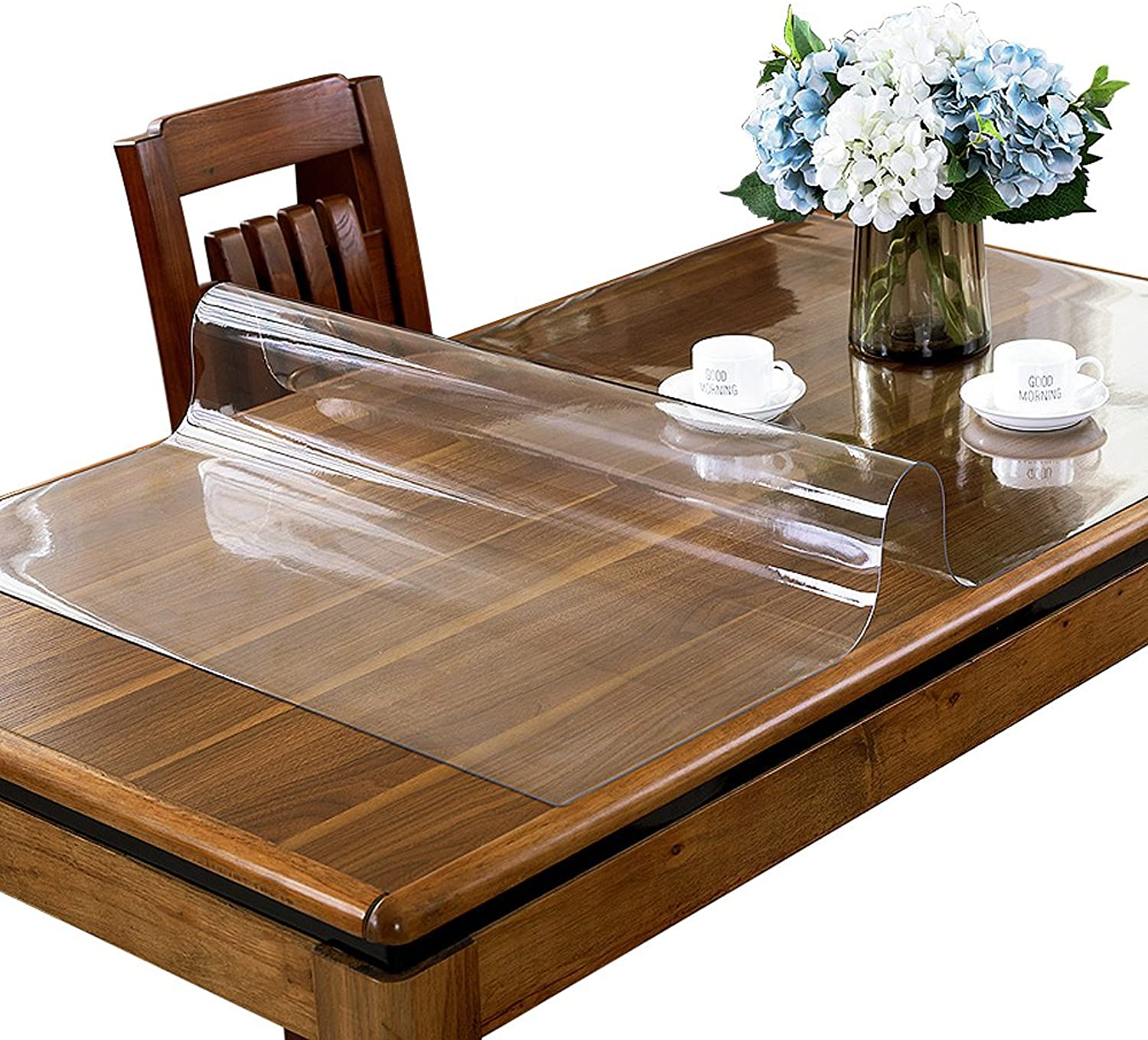 ETECHMART 1.5mm Thick 36 x 72 Inches Clear PVC Table Cover Predector for 6ft Table Non-Slip Water Resistant Rectangular Vinyl Desk Pad for Coffee Table, Writing Desk, End Table