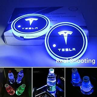 2pcs LED Car Cup Holder Lights for Tesla, 7 Colors Changing USB Charging Mat Luminescent Cup Pad, for Tesla Roadster Model S Model X Model 3 SUV