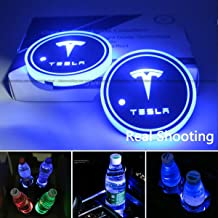 2pcs LED Car Cup Holder Lights for Tesla, 7 Colors Changing USB Charging Mat Luminescent Cup Pad, for Tesla Roadster Model...