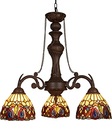 Capulina Handcrafted Tiffany Glass Chandelier, 3 Lights Tiffany Ceiling Light Fixture, Victorian Lampshade Dinning Room Lighting Fixtures Hanging, Antique Kitchen Lights CL078802-3CP