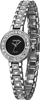 Time100 Women Round Imitation Ceramics Diamond Waterproof Quartz Watch for Girls #W50910L
