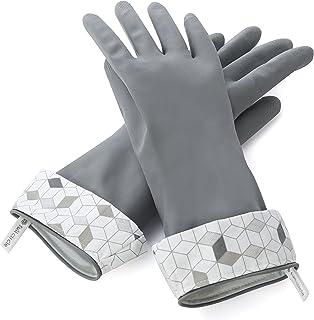 Full Circle Splash Patrol Natural Latex Cleaning and Dish Gloves, Small/Medium, Grey