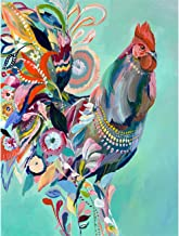 Leyzan 5D Full Drill Diamond Painting Painting a Rooster in Watercolor for Kids Adults by Number Kits, Paint with Diamonds Embroidery Set DIY Craft Arts Decorations (12x16inch)