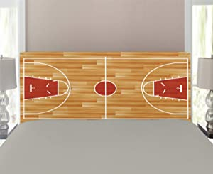 Lunarable Sports Headboard, Wooden Parquet Seem Floor Basketball Court Arena Gymnasium Tournament, Upholstered Decorative Metal Headboard with Memory Foam, for Twin Size Bed, Marigold and Vermilion
